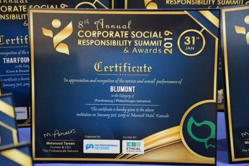 "The 8th International Corporate Social Responsibility Award for the category of ""Fundraising/Philanthropic Initiative."""