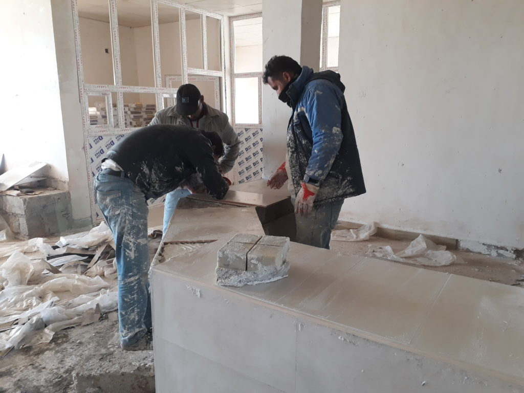 Construction work inside Hawija Hospital's Outpatient Department building in January 2019.