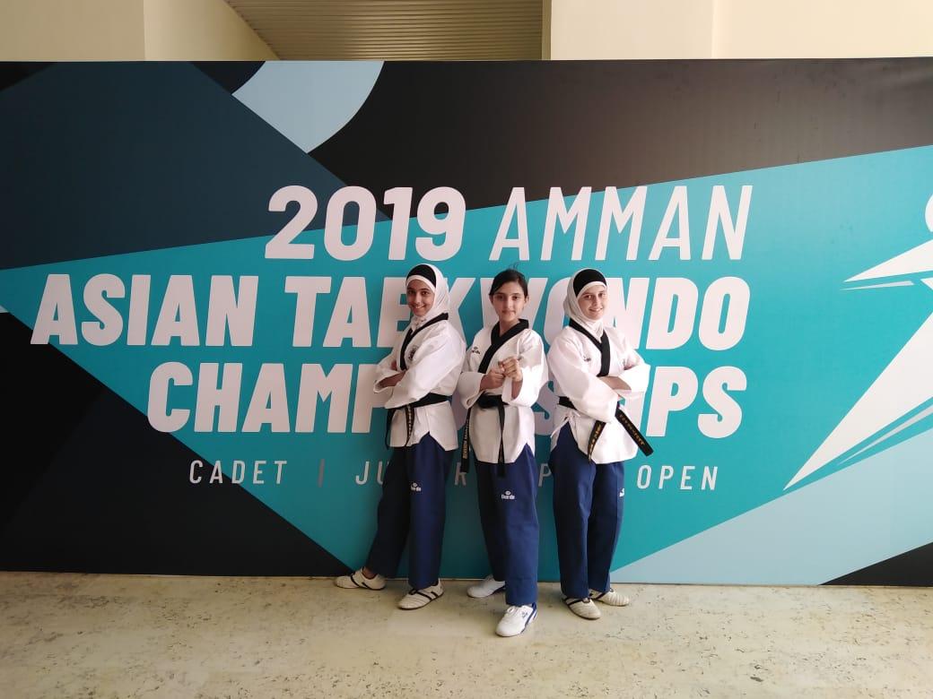 Batool, Yamama and Rama Taekwondo team