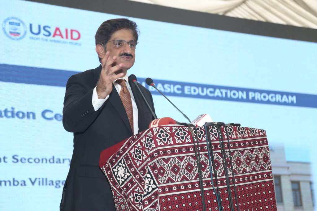 Mr. Syed Murad Ali Shah addresses the crowd at the school inauguration in Damba Village, Karachi