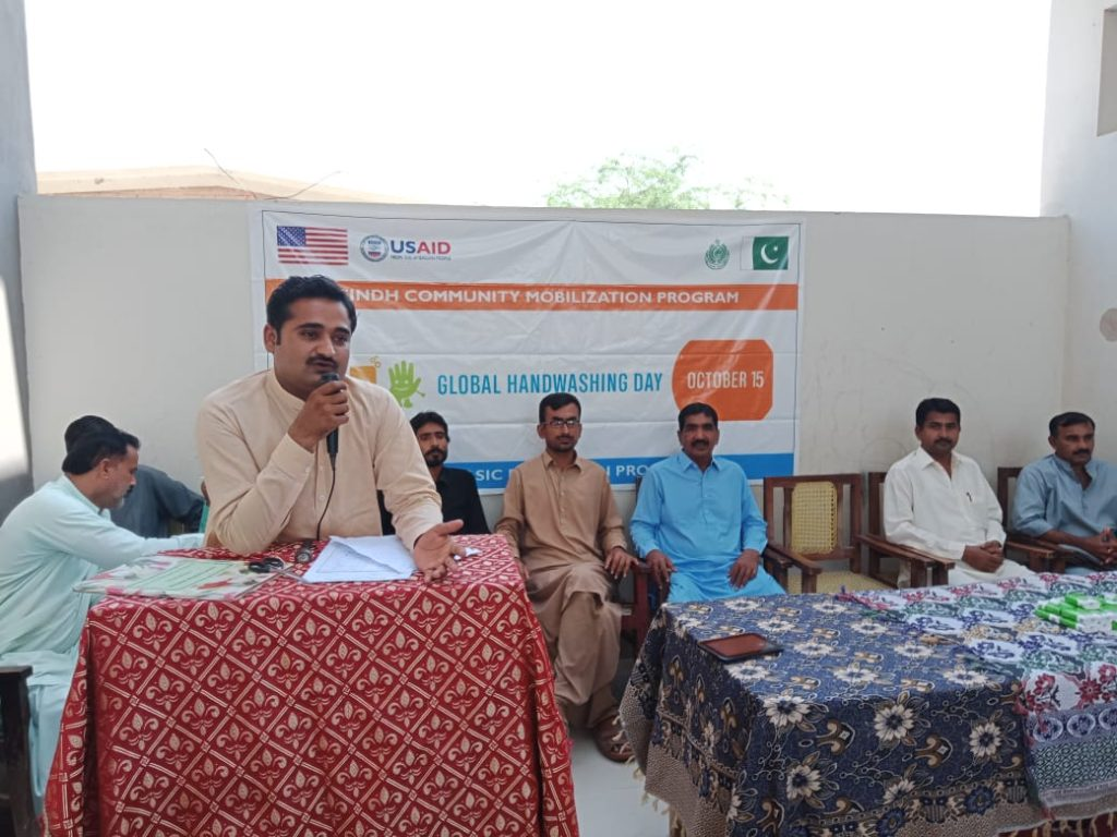 Head Teacher Waseem Ahmed at the Government Boys Primary school in Gabar Massan, Larkana stresses the importance of proper handwashing
