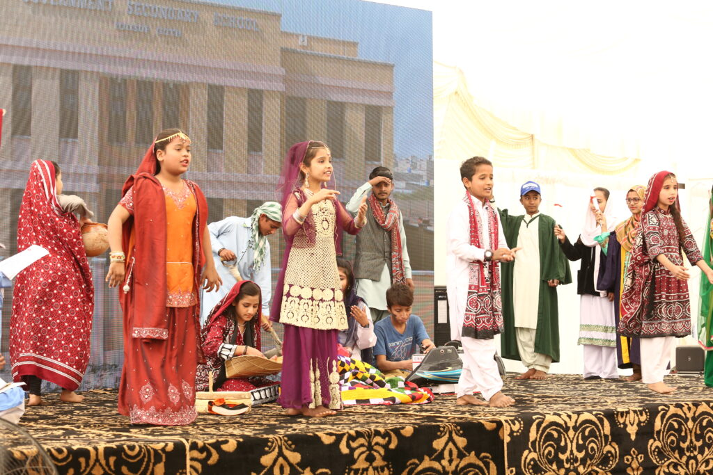 Children perform a tableau at Karachi school inauguration