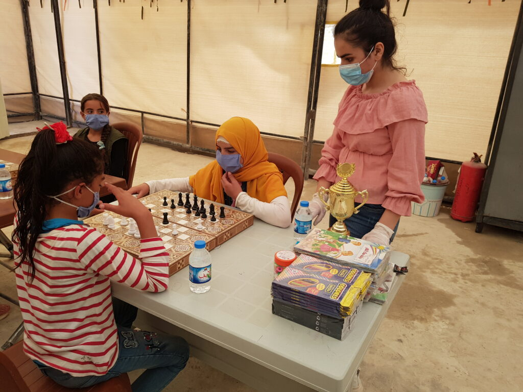 Chess competition in displacement camp in Northeast Syria